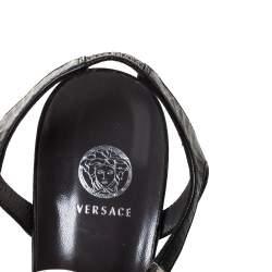 Versace Black Leather Medusa Strappy Ankle Strap Sandals size 39
