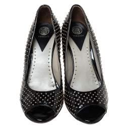 Versace Black Patent Studded Peep Toe Pumps Size 37
