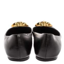 Versace Black Leather Medusa Ballet Flats Size 40