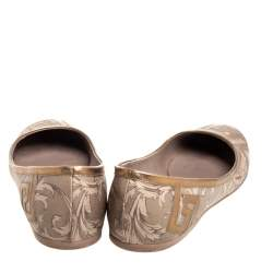 Versace Gold/Brown Leather Ballet Flats Size 39