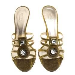Versace Yellow Lizard Crystal Embellished Slide Sandals Size 38