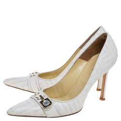 Versace White Leather Pointed Toe Pumps Size 38