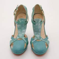 Versace Teal Raffia Croc Stamped Wedge Sandals Size 39.5