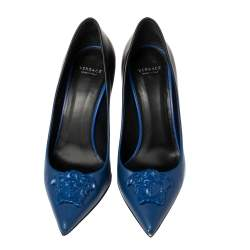 Versace Blue Leather Medusa Pointed Toe Pumps Size 36