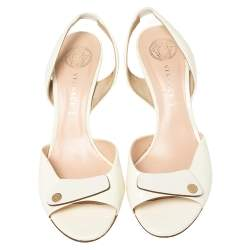 Versace Off White Patent Leather Slingback Sandals Size 40