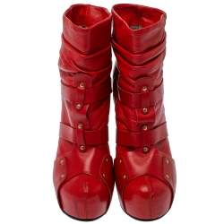 Versace Red  Leather Slip On Ankle Boots Size 39