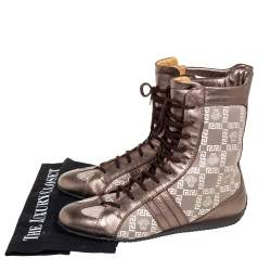 Versace Metallic Bronze Leather And Monogram Fabric High Top Sneakers Size 39