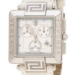 Versace White Stainless Steel Reve Carre 88Q Chronograph Women's Wristwatch 36 mm