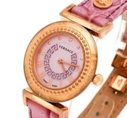 Versace Purple Gold Tone Stainless Steel Vanity P5Q Women's Wristwatch 35 mm