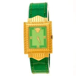 Gianni Versace Green Gold Plated Signature Medusa 7066927 Women's Wristwatch 28 mm