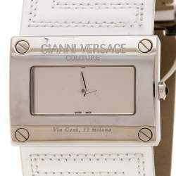 Gianni Versace Silver Stainless Steel V-Couture 71O Women's Wristwatch 40MM