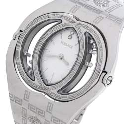 Versace Silver Stainless Steel Diamonds Eclissi 83Q Women's Wristwatch 39 mm