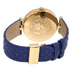 Versace Blue Rose Gold Plated Stainless Steel Vanitas K7Q Women's Wristwatch 40 mm
