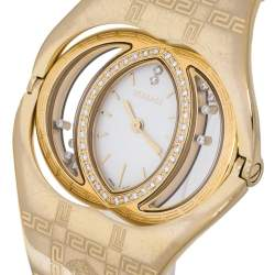 Versace White Opaline Yellow Gold Plated Stainless Steel Diamonds Eclissi 83Q Women's Wristwatch 39 mm