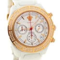 Versace White Ceramic Rose Gold Plated Stainless Steel Diamond DV One 11CC Unisex Wristwatch 40 mm