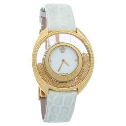Versace White Yellow Gold Plated Stainless Steel Leather Destiny Spirit 86Q Women's Wristwatch 39 mm
