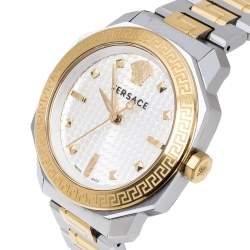 Versace White Yellow Gold Plated and Stainless Steel Dylos VQD140016 Women's Wristwatch 35 mm
