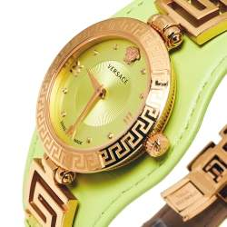 Versace Yellow Green Rose Gold Plated Stainless Steel V Signature VLA070014 Women's Wristwatch 35 mm