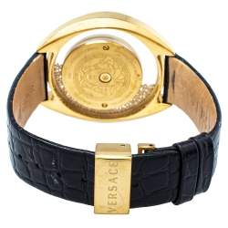 Versace Black Gold Plated Stainless Steel & Leather Destiny Spirit 86Q Women's Wristwatch 39 MM