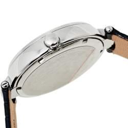 Versace Black Stainless Steel Leather Diamonds Hibiscus Mystique I9Q91D9HI S009 Women's Wristwatch 38 mm