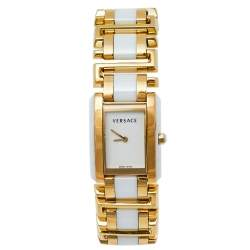 Versace White Gold Plated Stainless Steel Ceramic Era 70Q Women's Wristwatch 25 mm