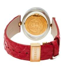 Versace Red Two Tone Stainless Steel Leather Diamond Eon Ellipsis 91Q Women's Wristwatch 32 mm x 40 mm