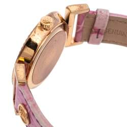 Versace Lilac Gold Plated Stainless Steel Leather Vanity P5Q Women's Wristwatch 35 mm