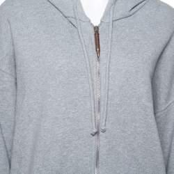 Vetements Grey Cotton Elbow Cutout Detail Zip Front Hoodie L