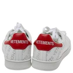 Vetements White Perforated Leather Low Top Sneakers Size 39