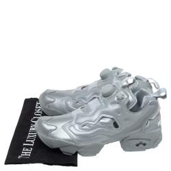 Vetements x Reebok Reflective Grey PVC Instapump Fury Low Top Sneakers Size 36