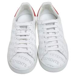 Vetements White Perforated Leather Low Top Sneakers Size 38