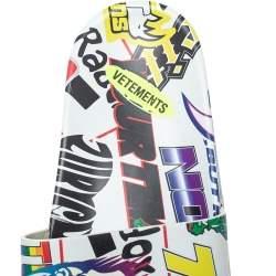 Vetements Multicolor Printed Leather Slides Size 36