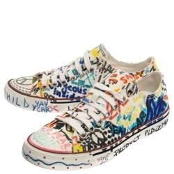 Vetements Multicolor Graffiti Canvas Low Top Lace Up Sneakers Size 36