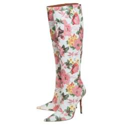 Vetements Multicolor Floral Print Leather Over The Knee Boots Size 39