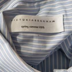 Victoria Beckham Blue and White Striped Cotton Buttoned Back Detail Shirt M