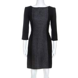 Victoria Beckham Black Knit Paneled Sheath Dress M