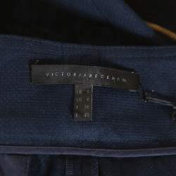 Victoria Beckham Navy Blue Cotton Cropped Flight Pants S