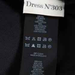 Victoria Beckham Black Tier Skirt Detail Plunge Neck Short Dress M