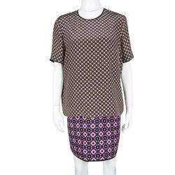 Victoria Victoria Beckham Multicolor Printed Silk and Jacquard Short Sleeve Dress M