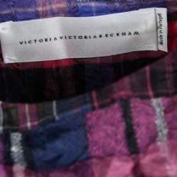 Victoria Victoria Beckham Multicolor Checked Crushed Silk Peplum Top L