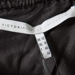 Victoria Victoria Beckham Black Textured Wool Drop Waist Dress M