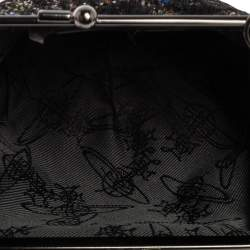 Vivienne Westwood Multicolor Lace and Glitter Kiss Lock Chain Clutch