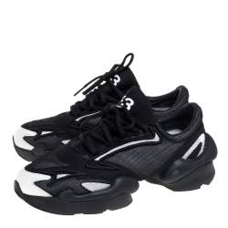 Adidas Y-3 Ren Black/White Layered Mesh And Leather Sports Style Sneakers Size 40