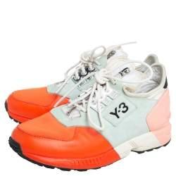 Y3 x adidas Yohji Yamamoto Multicolor Leather And Neoprene Zx Zip Low Top Sneakers Size 36 2/3