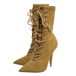 Yeezy Beige Stretch Canvas Season 6 Lace Up Pointed Toe Boots Size 36