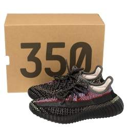 Yeezy x adidas Multicolor Cotton Knit Fabric Boost 350 V2 Yecheil Reflective Sneakers Size 36