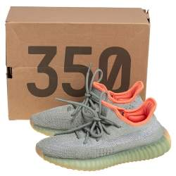 Yeezy x Adidas Green/Grey Cotton Knit Fabric Boost 350 V2 Desert Sage Sneakers Size 37.5