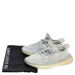 Yeezy x Adidas White/Blue Cotton Knit Boost 350 V2 Cloud White Sneakers Size 38