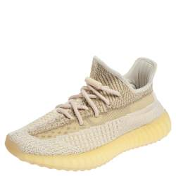 Yeezy Cream/White Knit Fabric 350 V2 Natural Sneakers 38 2/3