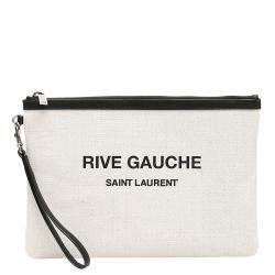 Saint Laurent Beige Rive Gauche Clutch Bag